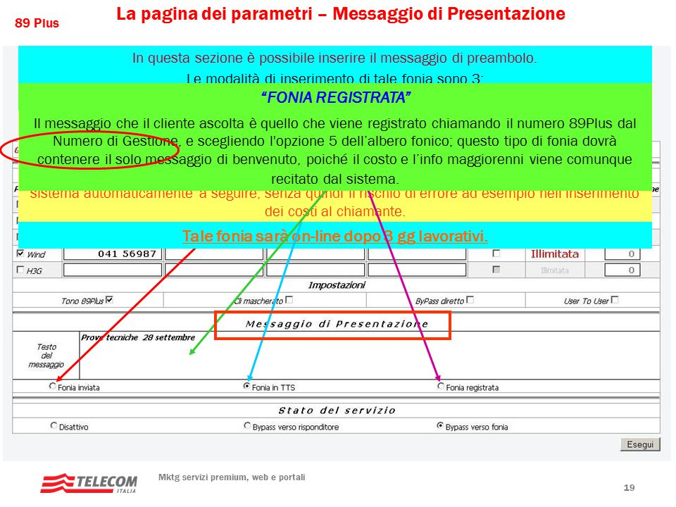 89 Plus Mktg servizi premium, web e portali 19 La pagina dei parametri – Messaggio di Presentazione In questa sezione è possibile inserire il messaggio di preambolo.