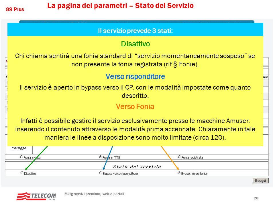 89 Plus Mktg servizi premium, web e portali 20 Il servizio prevede 3 stati: Disattivo Chi chiama sentirà una fonia standard di servizio momentaneamente sospeso se non presente la fonia registrata (rif § Fonie).