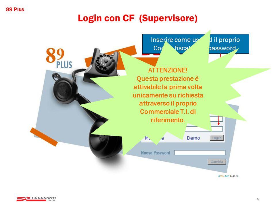 89 Plus Mktg servizi premium, web e portali 5 Login con CF (Supervisore) Inserire come user id il proprio Codice fiscale e la password.