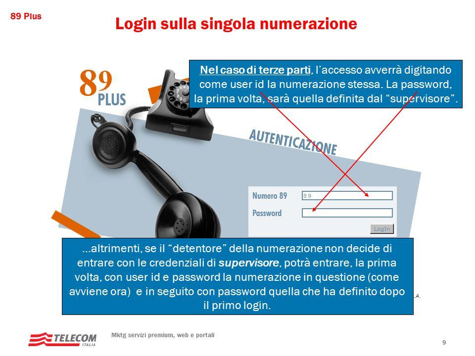 89 Plus Mktg servizi premium, web e portali 9 Login sulla singola numerazione Nel caso di terze parti, l'accesso avverrà digitando come user id la numerazione stessa.