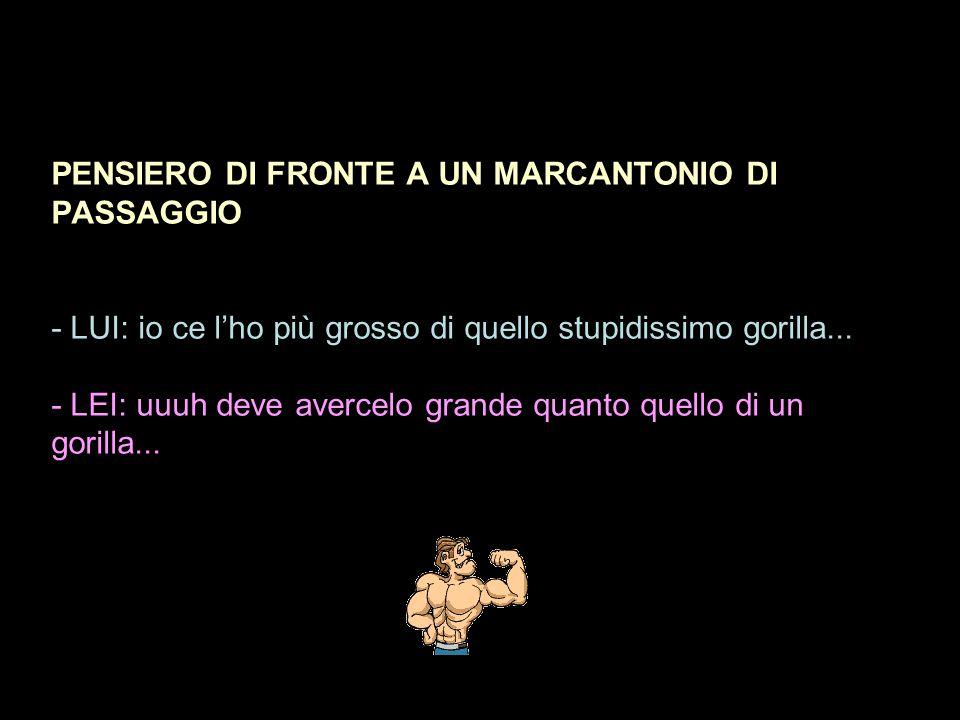 PENSIERO DI FRONTE A UN MARCANTONIO DI PASSAGGIO - LUI: io ce l'ho più grosso di quello stupidissimo gorilla...