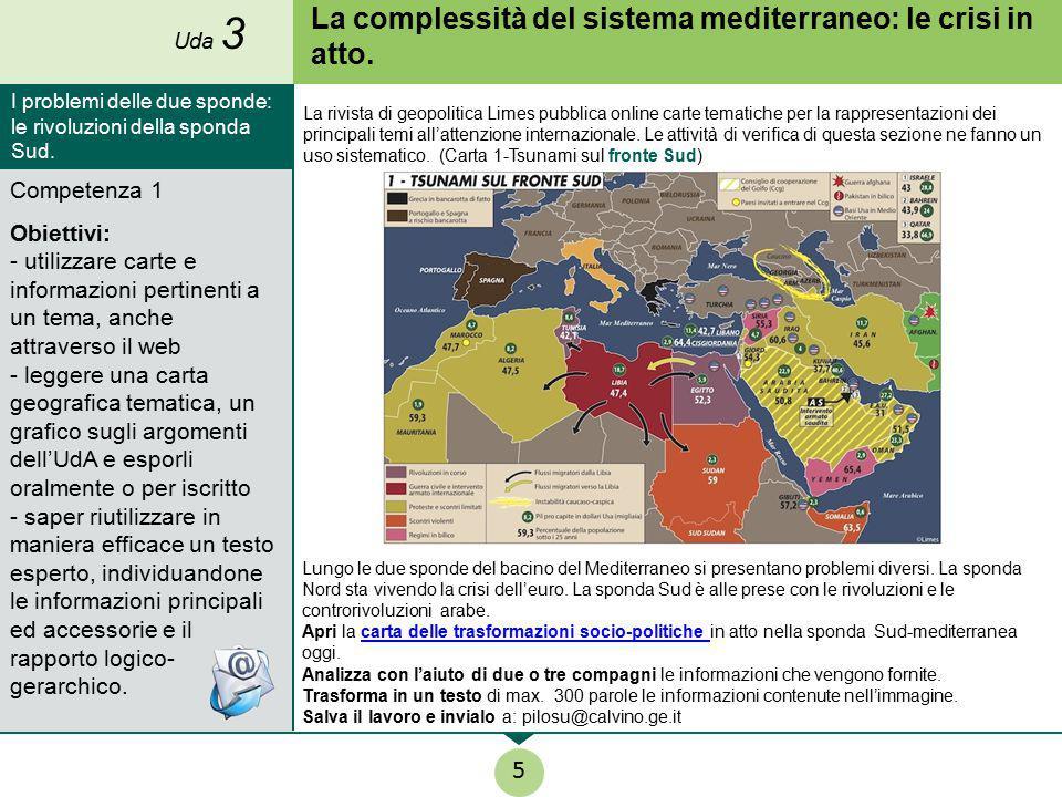 La complessità del sistema mediterraneo: le crisi in atto. Competenza 1 Obiettivi: - utilizzare carte e informazioni pertinenti a un tema, anche attra
