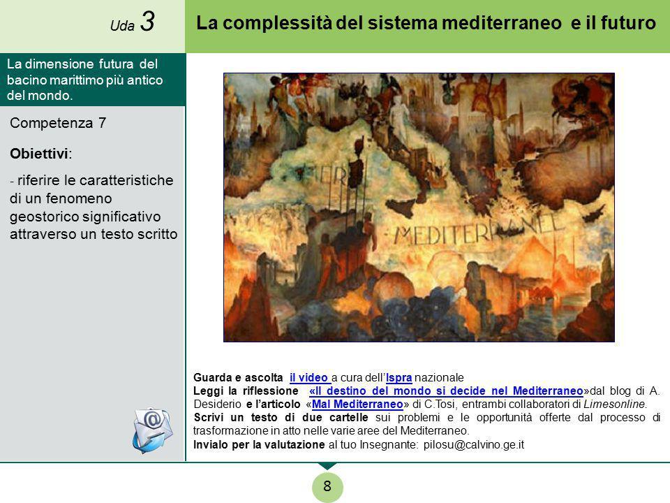 La complessità del sistema mediterraneo e il futuro Competenza 7 Obiettivi: - riferire le caratteristiche di un fenomeno geostorico significativo attr