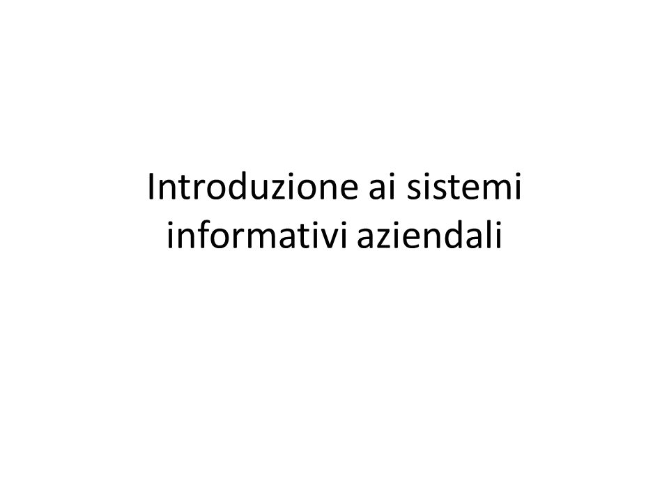 Concludendo… Quando una persona impegnata in un fatto aziendale esegue una QUERY al sistema informativo, è in attesa di ottenere informazioni.