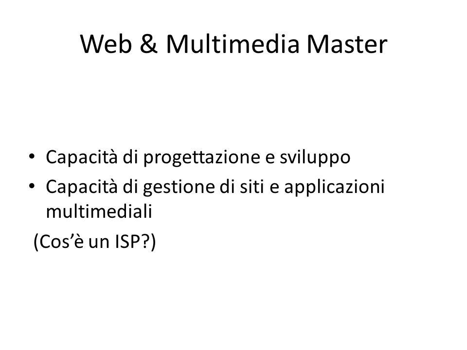 Web & Multimedia Master Capacità di progettazione e sviluppo Capacità di gestione di siti e applicazioni multimediali (Cos'è un ISP?)