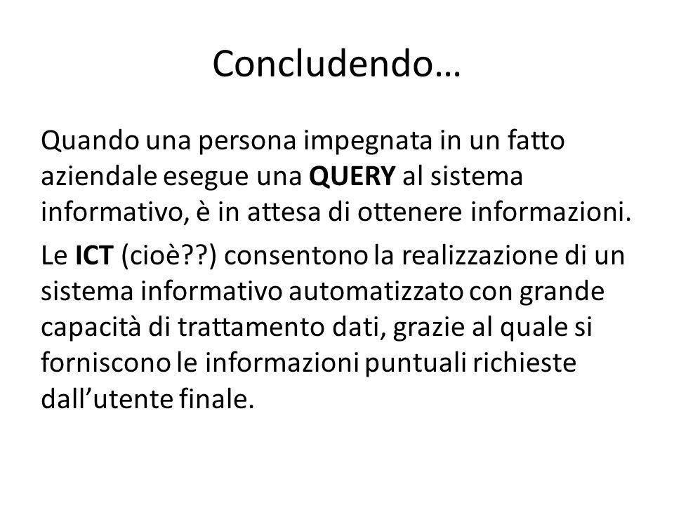 Concludendo… Quando una persona impegnata in un fatto aziendale esegue una QUERY al sistema informativo, è in attesa di ottenere informazioni. Le ICT