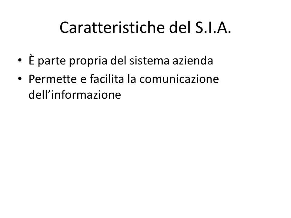 Caratteristiche del S.I.A. È parte propria del sistema azienda Permette e facilita la comunicazione dell'informazione