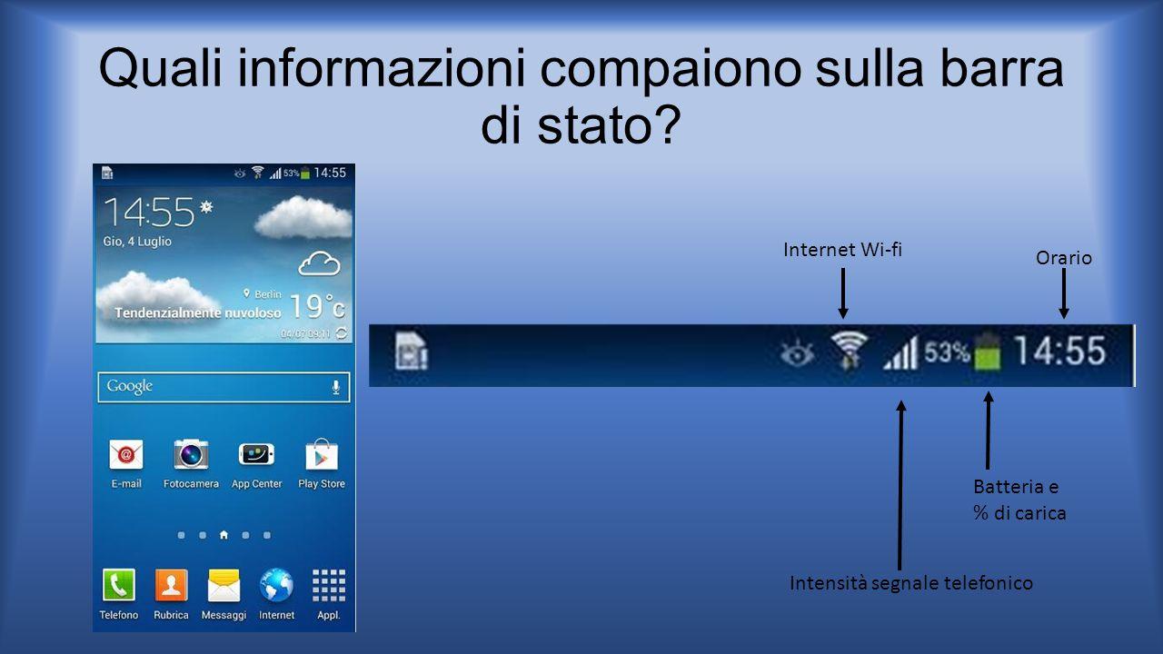 Quali informazioni compaiono sulla barra di stato? Batteria e % di carica Internet Wi-fi Intensità segnale telefonico Orario