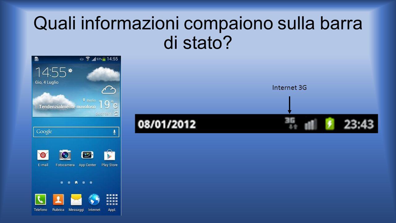 Quali informazioni compaiono sulla barra di stato? Internet 3G