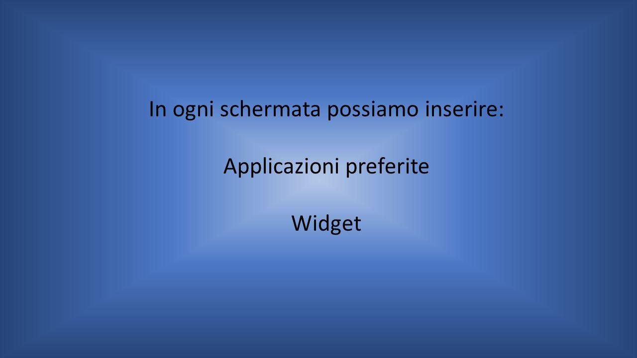 In ogni schermata possiamo inserire: Applicazioni preferite Widget