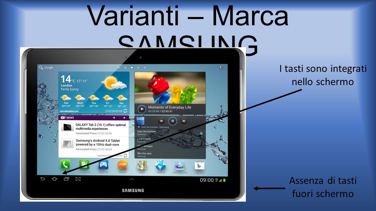 Varianti – Marca SAMSUNG Assenza di tasti fuori schermo I tasti sono integrati nello schermo