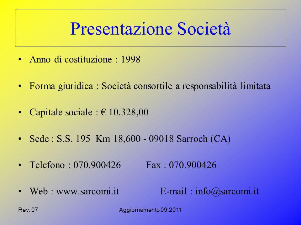 Rev. 07Aggiornamento 09.2011 Presentazione Società Anno di costituzione : 1998 Forma giuridica : Società consortile a responsabilità limitata Capitale