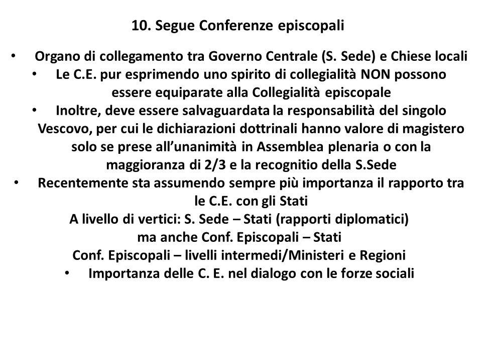 10. Segue Conferenze episcopali Organo di collegamento tra Governo Centrale (S. Sede) e Chiese locali Le C.E. pur esprimendo uno spirito di collegiali