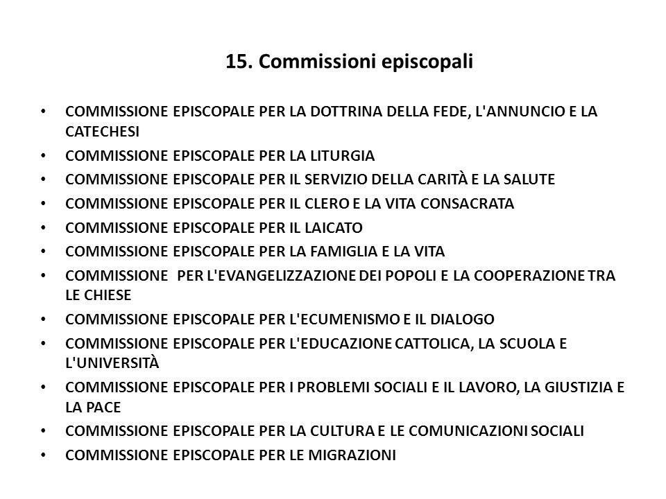 15. Commissioni episcopali COMMISSIONE EPISCOPALE PER LA DOTTRINA DELLA FEDE, L'ANNUNCIO E LA CATECHESI COMMISSIONE EPISCOPALE PER LA LITURGIA COMMISS