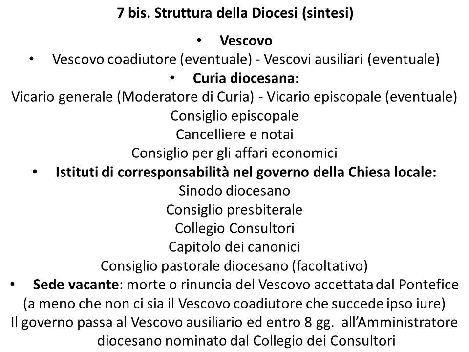 7 bis. Struttura della Diocesi (sintesi) Vescovo Vescovo coadiutore (eventuale) - Vescovi ausiliari (eventuale) Curia diocesana: Vicario generale (Mod