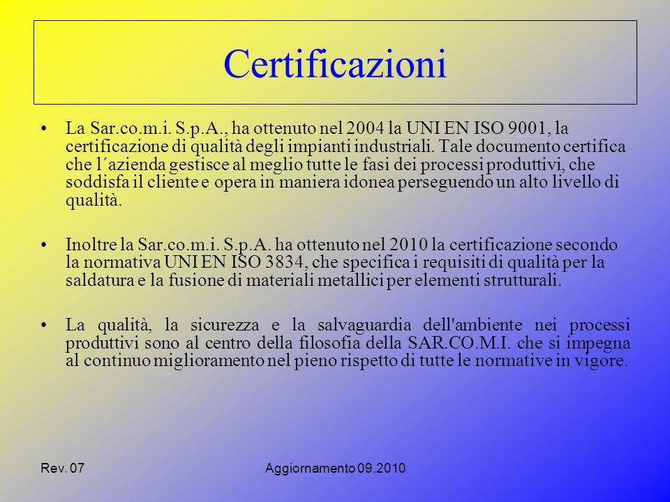Rev. 07Aggiornamento 09.2010 La Sar.co.m.i.