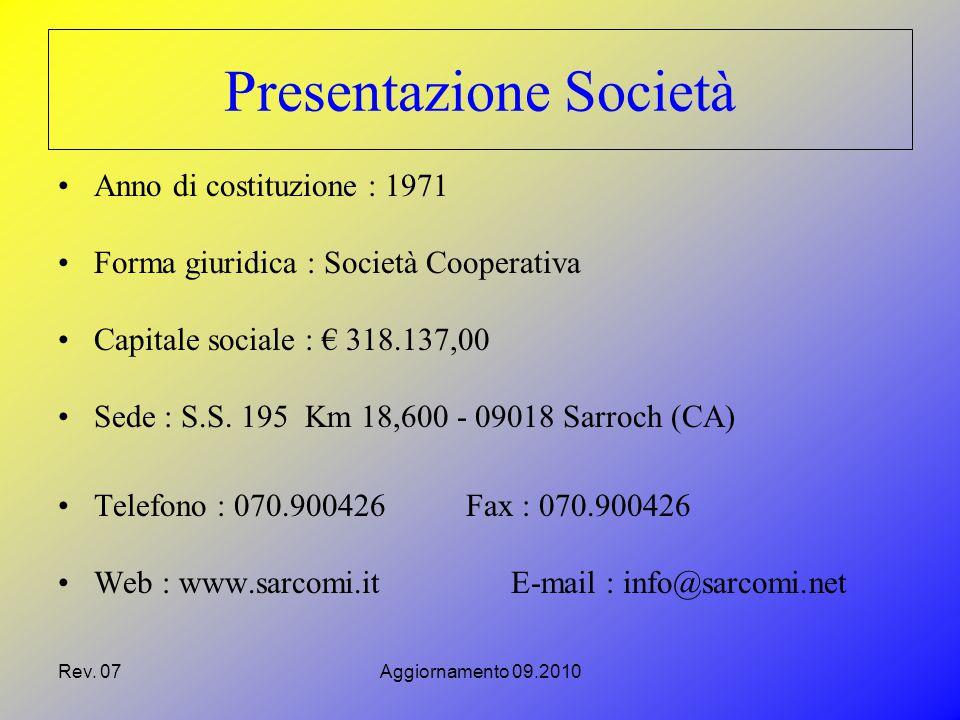 Rev. 07Aggiornamento 09.2010 Presentazione Società Anno di costituzione : 1971 Forma giuridica : Società Cooperativa Capitale sociale : € 318.137,00 S