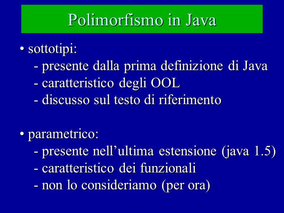 Polimorfismo in Java sottotipi: sottotipi: - presente dalla prima definizione di Java - caratteristico degli OOL - discusso sul testo di riferimento parametrico: parametrico: - presente nell'ultima estensione (java 1.5) - caratteristico dei funzionali - non lo consideriamo (per ora)
