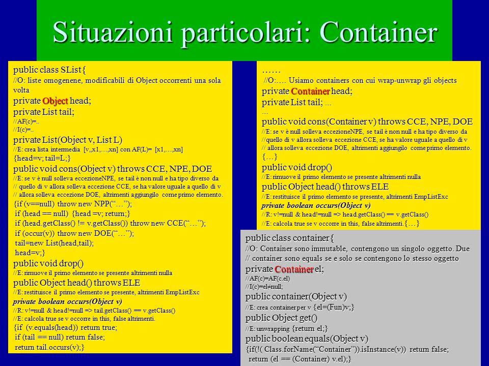 Container: una tabellina effectsmodificabiliNon modificabiliContainer (con solo modificabili) = puntatoriOKNo equalsStato (rep)NoOK public class FunContainers extends Containers{ //O: FunContainer sono Containers.