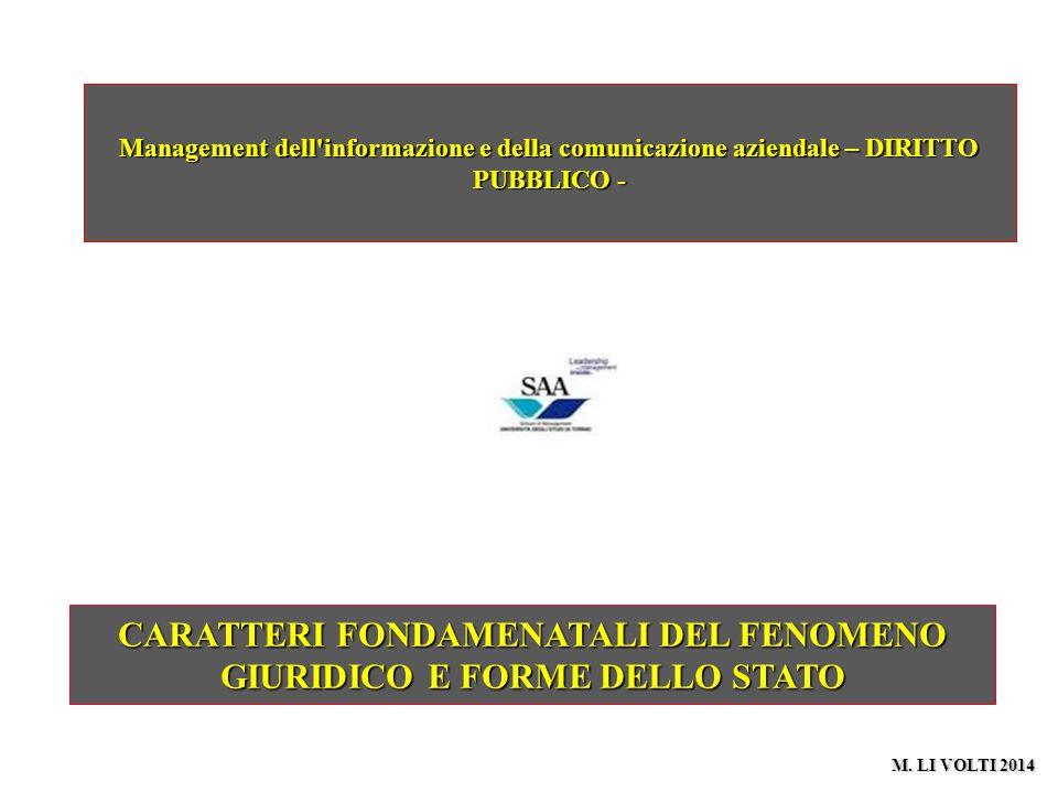 CARATTERI FONDAMENATALI DEL FENOMENO GIURIDICO E FORME DELLO STATO Management dell'informazione e della comunicazione aziendale – DIRITTO PUBBLICO - M