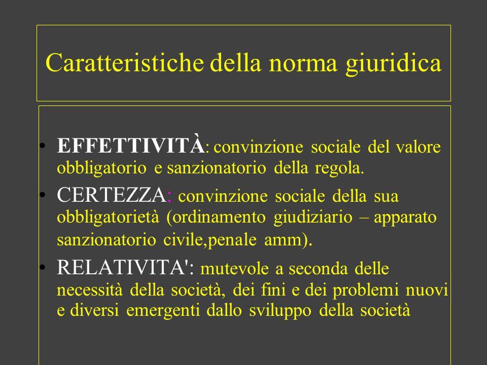 Caratteristiche della norma giuridica EFFETTIVITÀ : convinzione sociale del valore obbligatorio e sanzionatorio della regola. CERTEZZA: convinzione so
