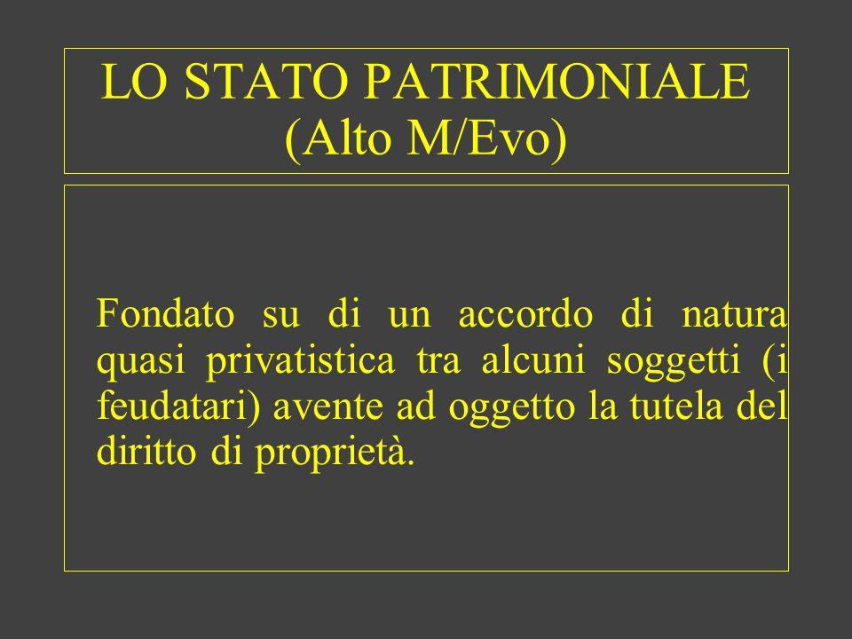 LO STATO PATRIMONIALE (Alto M/Evo) Fondato su di un accordo di natura quasi privatistica tra alcuni soggetti (i feudatari) avente ad oggetto la tutel