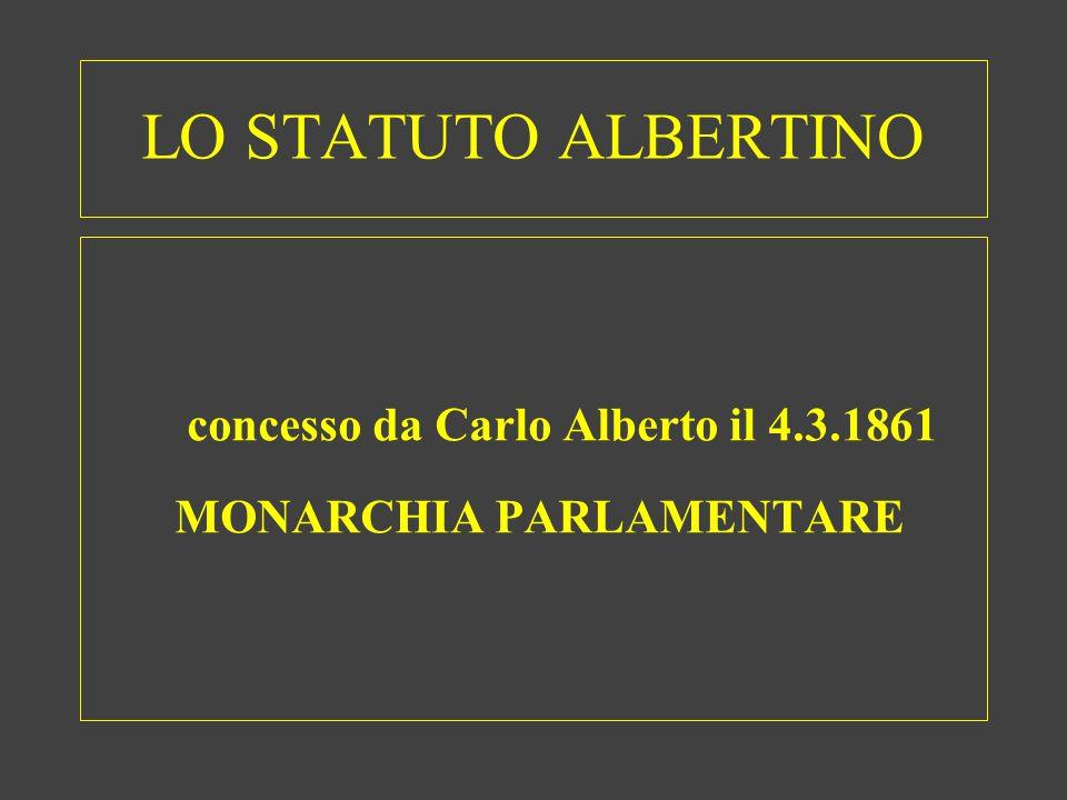 LO STATUTO ALBERTINO concesso da Carlo Alberto il 4.3.1861 MONARCHIA PARLAMENTARE