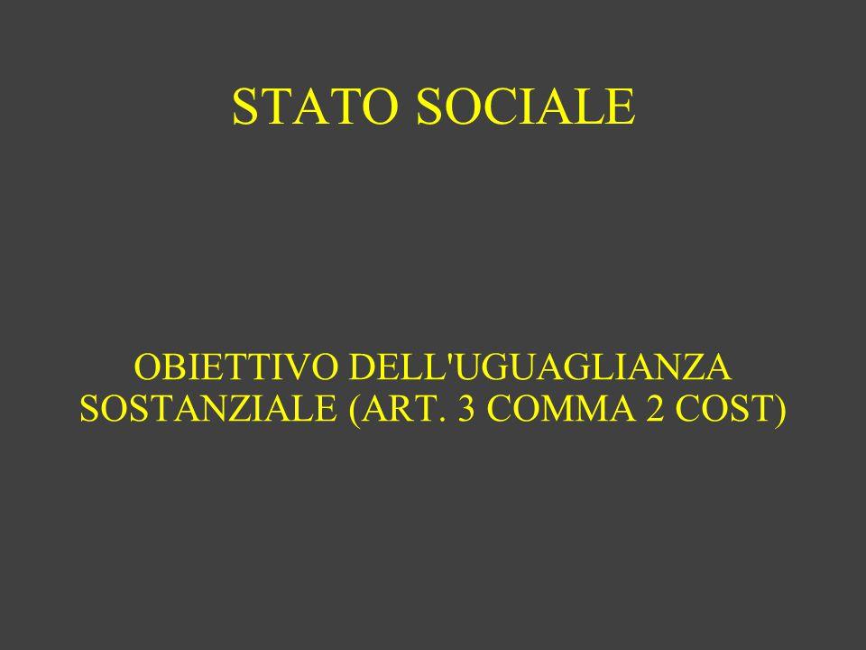STATO SOCIALE OBIETTIVO DELL'UGUAGLIANZA SOSTANZIALE (ART. 3 COMMA 2 COST)