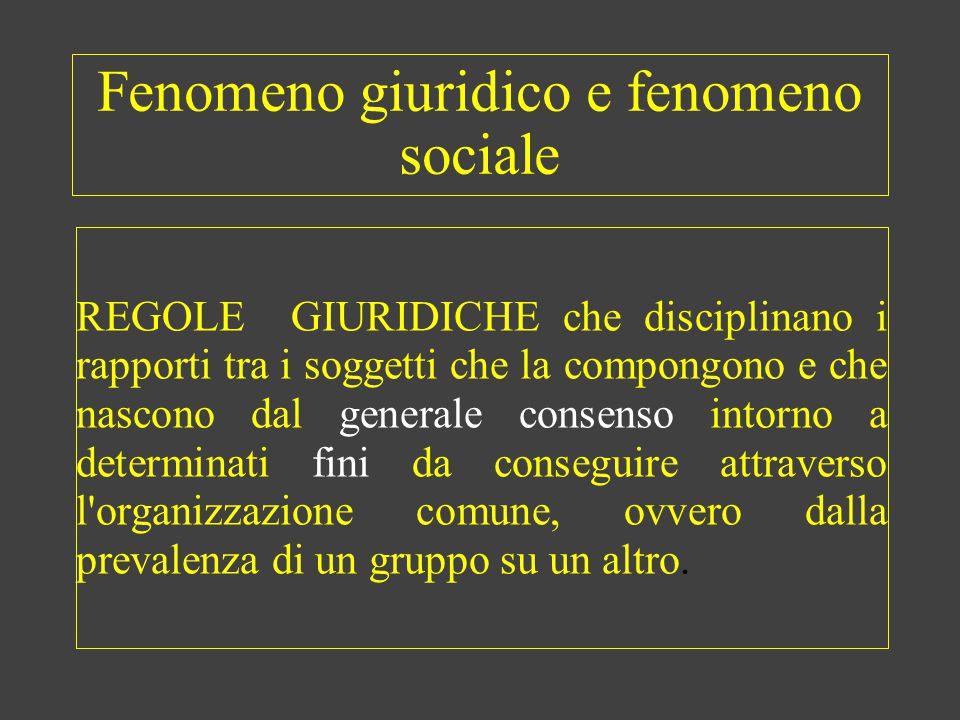 Fenomeno giuridico e fenomeno sociale REGOLE GIURIDICHE che disciplinano i rapporti tra i soggetti che la compongono e che nascono dal generale consen