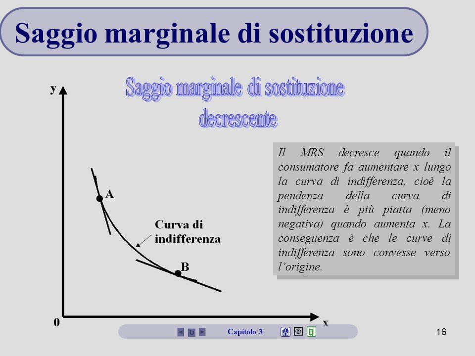 Microeconomia16 Saggio marginale di sostituzione Il MRS decresce quando il consumatore fa aumentare x lungo la curva di indifferenza, cioè la pendenza della curva di indifferenza è più piatta (meno negativa) quando aumenta x.