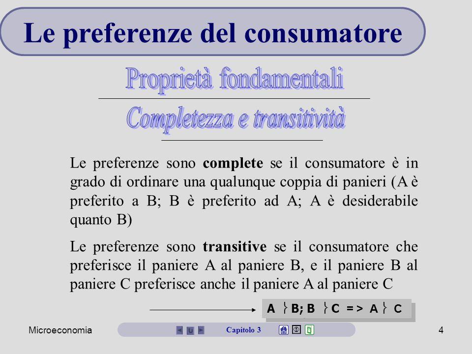 Microeconomia4 Le preferenze del consumatore Le preferenze sono complete se il consumatore è in grado di ordinare una qualunque coppia di panieri (A è preferito a B; B è preferito ad A; A è desiderabile quanto B) Le preferenze sono transitive se il consumatore che preferisce il paniere A al paniere B, e il paniere B al paniere C preferisce anche il paniere A al paniere C A  B; B  C = > A  C Capitolo 3