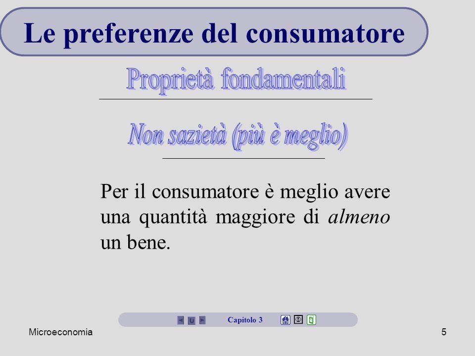 Microeconomia5 Le preferenze del consumatore Per il consumatore è meglio avere una quantità maggiore di almeno un bene.
