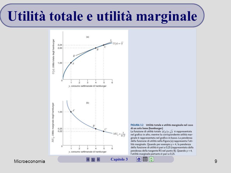 Microeconomia10 Curve di indifferenza Una curva di indifferenza è un insieme di panieri che danno al consumatore lo stesso livello di utilità Una mappa di indifferenza mostra l'insieme delle curve di indifferenza di un consumatore Capitolo 3