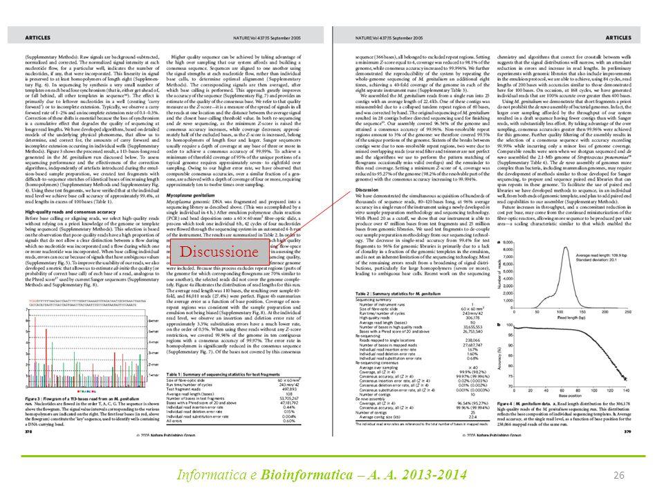 Informatica e Bioinformatica – A. A. 2013-2014 26 Discussione