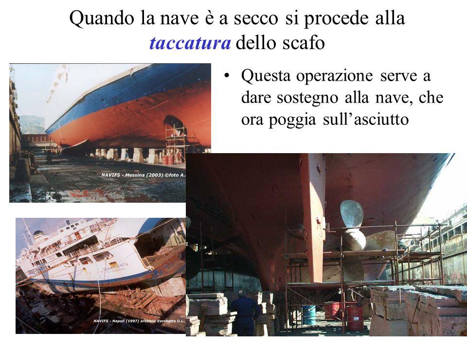 Quando la nave è a secco si procede alla taccatura dello scafo Questa operazione serve a dare sostegno alla nave, che ora poggia sull'asciutto