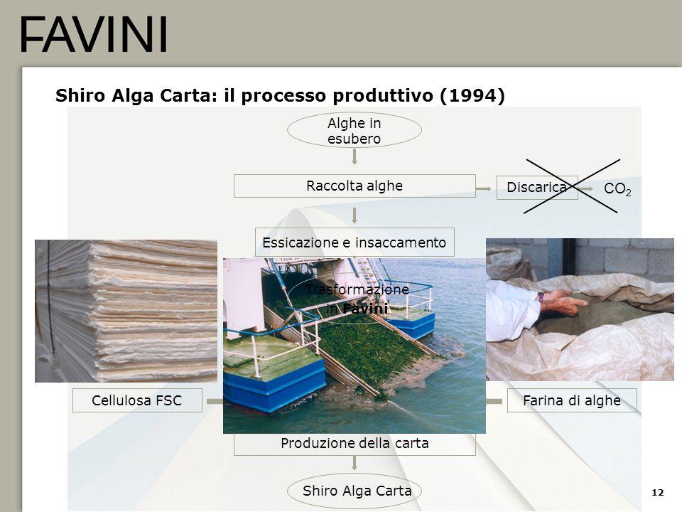 12 Shiro Alga Carta: il processo produttivo (1994) Cellulosa FSC Essicazione e insaccamento Micronizzazione (Farina di alghe) Preparazione impasto Pro