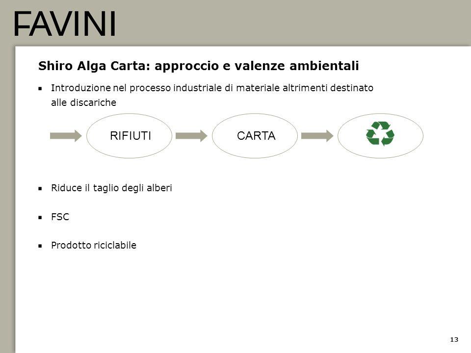 13 Shiro Alga Carta: approccio e valenze ambientali Introduzione nel processo industriale di materiale altrimenti destinato alle discariche Riduce il
