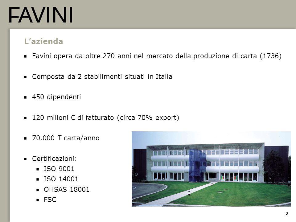 2 L'azienda Favini opera da oltre 270 anni nel mercato della produzione di carta (1736) Composta da 2 stabilimenti situati in Italia 450 dipendenti 12