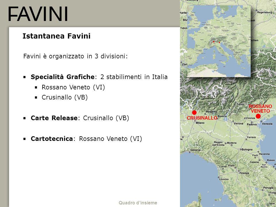 3 Istantanea Favini Favini è organizzato in 3 divisioni: Specialità Grafiche: 2 stabilimenti in Italia Rossano Veneto (VI) Crusinallo (VB) Carte Relea