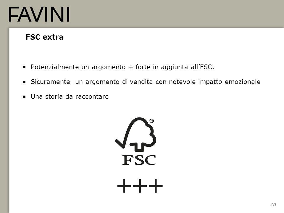 32 FSC extra Potenzialmente un argomento + forte in aggiunta all'FSC. Sicuramente un argomento di vendita con notevole impatto emozionale Una storia d