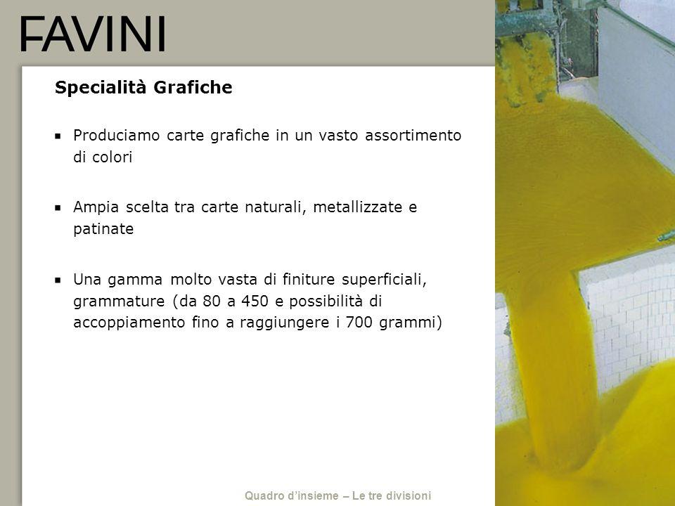 Specialità Grafiche Produciamo carte grafiche in un vasto assortimento di colori Ampia scelta tra carte naturali, metallizzate e patinate Una gamma mo