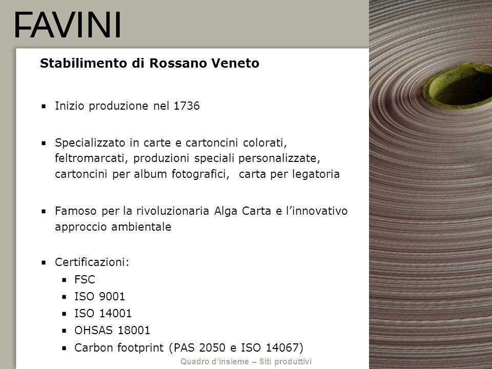 Stabilimento di Rossano Veneto Inizio produzione nel 1736 Specializzato in carte e cartoncini colorati, feltromarcati, produzioni speciali personalizz