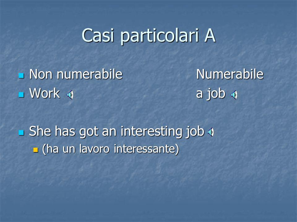 Casi particolari Nomi non numerabili possono diventare numerabili a seconda: Nomi non numerabili possono diventare numerabili a seconda: A)del signifi