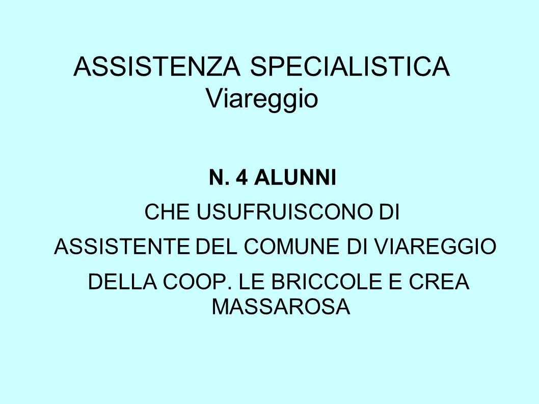 ASSISTENZA SPECIALISTICA Viareggio N. 4 ALUNNI CHE USUFRUISCONO DI ASSISTENTE DEL COMUNE DI VIAREGGIO DELLA COOP. LE BRICCOLE E CREA MASSAROSA