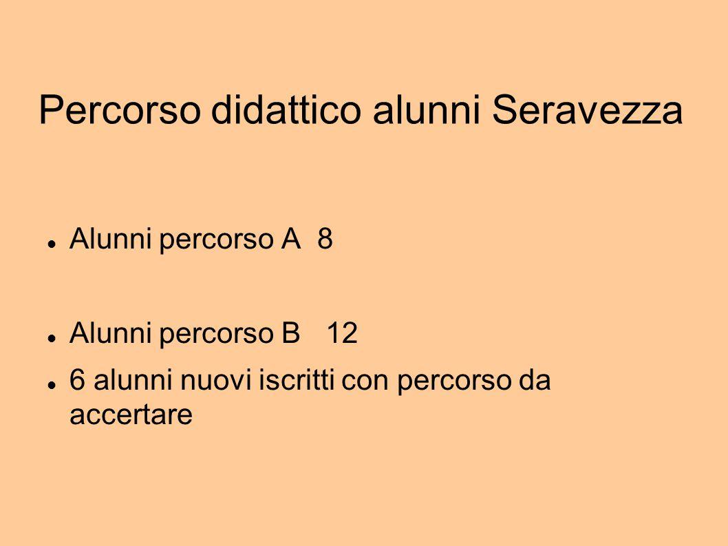 Percorso didattico alunni Seravezza Alunni percorso A 8 Alunni percorso B 12 6 alunni nuovi iscritti con percorso da accertare