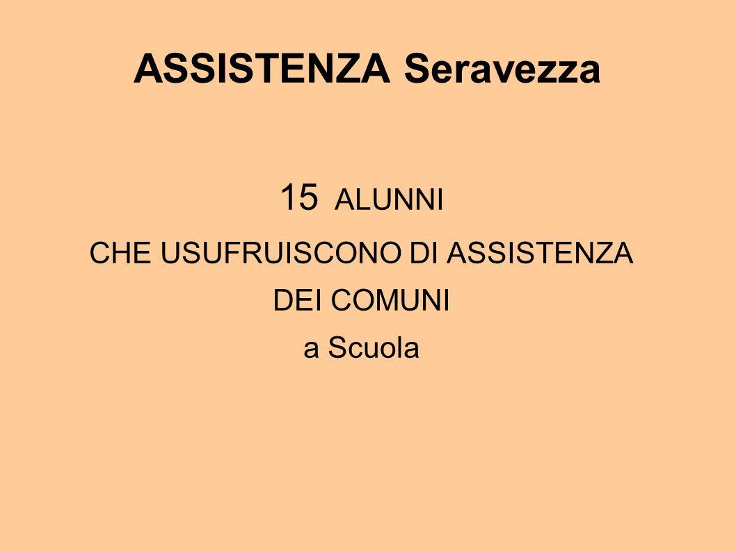 ASSISTENZA Seravezza 15 ALUNNI CHE USUFRUISCONO DI ASSISTENZA DEI COMUNI a Scuola