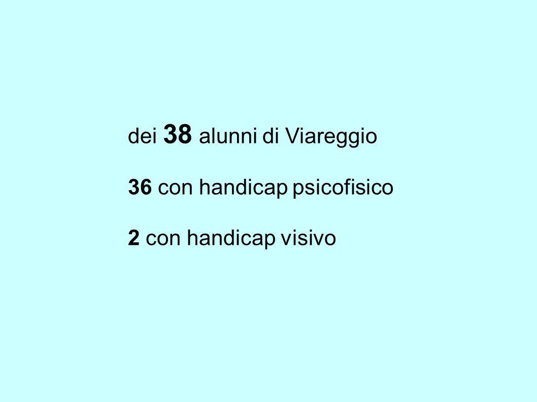dei 38 alunni di Viareggio 36 con handicap psicofisico 2 con handicap visivo