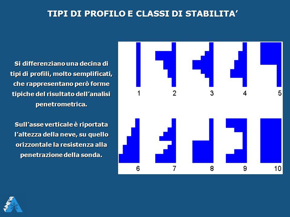 TIPI DI PROFILO E CLASSI DI STABILITA' Si differenziano una decina di tipi di profili, molto semplificati, che rappresentano però forme tipiche del ri