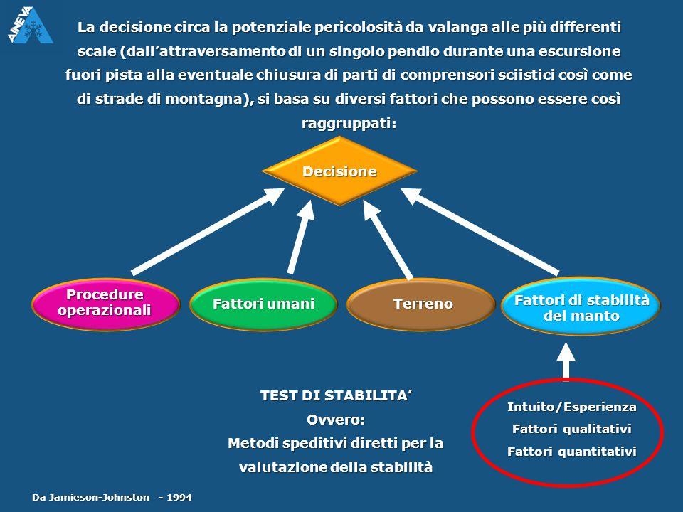 Procedure operazionali Fattori umani Terreno Fattori di stabilità del manto Intuito/Esperienza Fattori qualitativi Fattori quantitativi La decisione c