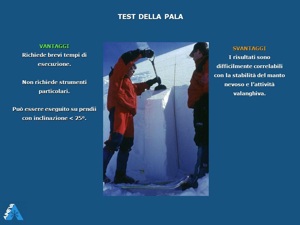 TEST DELLA PALA VANTAGGI Richiede brevi tempi di esecuzione. Non richiede strumenti particolari. Può essere eseguito su pendii con inclinazione < 25°.